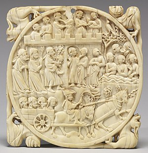 Fountain of Youth - French 14th-century ivory mirror case with a Fountain of Youth