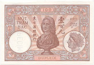 Banque de l'Indochine - French Indochina - General Dupleix on a 100 piastres 1932 banknote