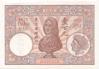 Joseph François Dupleix - Dupleix on Banque de l'Indochine banknote
