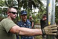 From left, U.S. Marine Corps Lance Cpl. Glenn Mosley, a refrigeration mechanic with 8th Engineer Support Battalion, Logistics Combat Element, and U.S. Navy Capt. Thomas M. Negus, commodore of Continuing Promise 100823-M-PC721-659.jpg