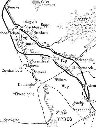 Battle of Langemarck (1917) - Front line after Battle of Langemarck, 16–18 August 1917