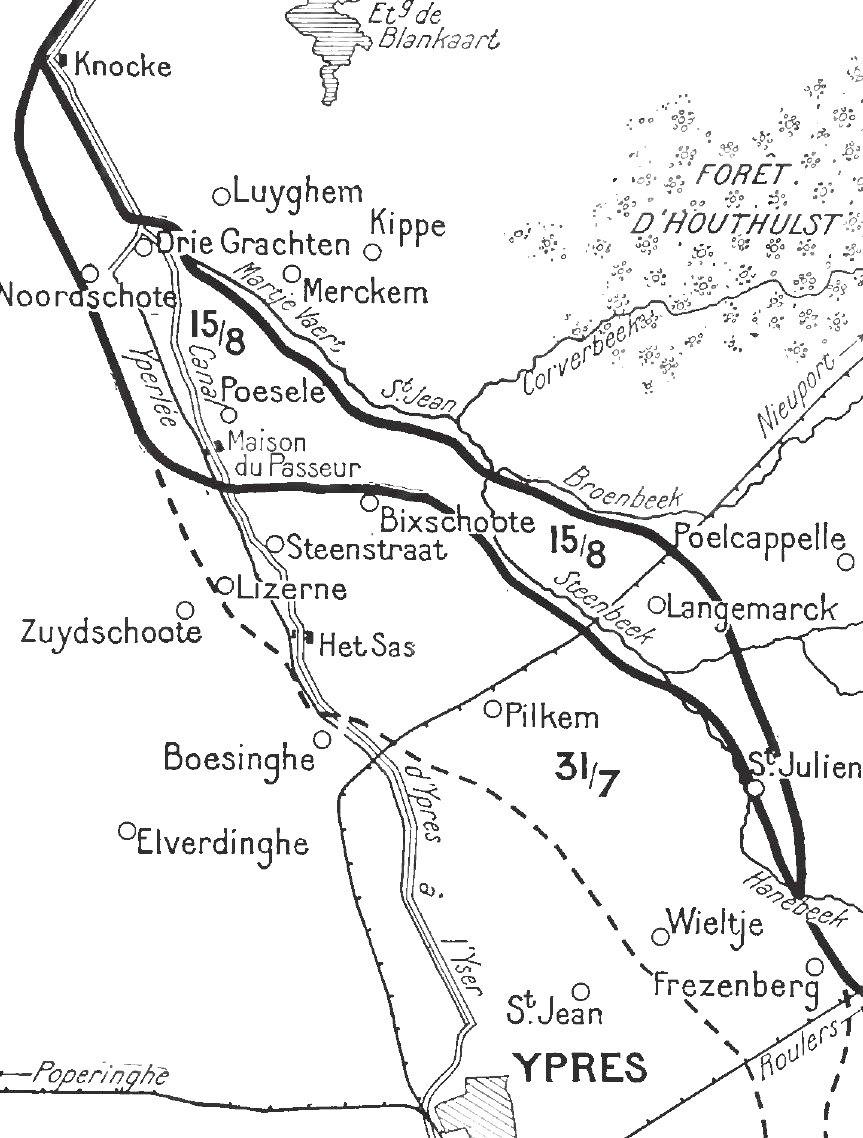 Front line after Battle of Langemarck, 16-18 August 1917