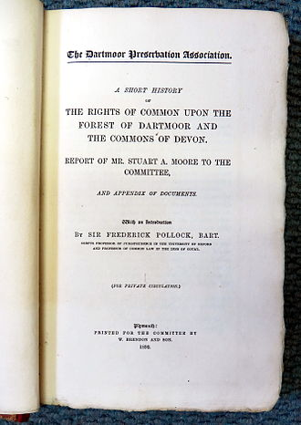Dartmoor Preservation Association - Frontispiece of DPA book about Commons and Commoners' Rights, published 1890