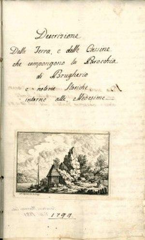 Saint Bartholomew, Brugherio - Frontispiece of Paolo Antonio De Petri's manuscript of 1794