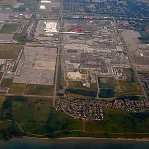 Oshawa Car Assembly - Aerial view of the GM facilities in Oshawa