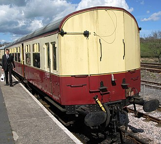 GWR Autocoach - The non-driving end of preserved W225 in British Railways livery on the South Devon Railway