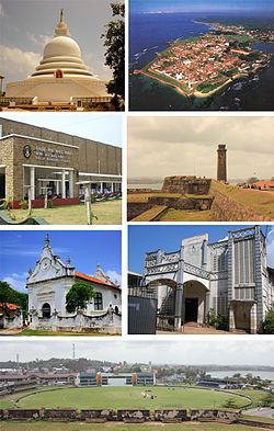 Clockwise from top left: Galle Temple, Aerial view of Galle Fort, Interior of the Galle Fort, St. Aloysius College, Galle View of the گال انٹرنیشنل اسٹیڈیم from the Fort, Dutch Reformed Church of Galle, Galle Municipal Council