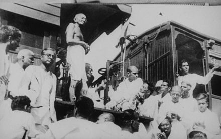 Gandhi visiting Madras (now Chennai) in 1933 on an India-wide tour for Harijan causes. His speeches during such tours and writings discussed the discriminated-against castes of India.[1] - Caste system in India