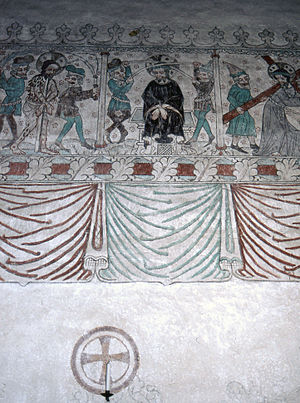 Ganthem Church - Medieval fresco in Ganthem Church
