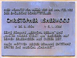 Photo of Christopher Isherwood bronze plaque