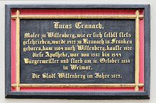 Gedenktafel an der Apotheke Wittenberg aus dem Jahr 1872 für Lucas Cranach (Quelle: Wikimedia)