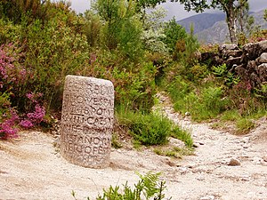 Milestone - Roman milestone XXIX on Via Romana XVIII – the road linking the Iberian cities of Bracara Augusta and Asturica Augusta