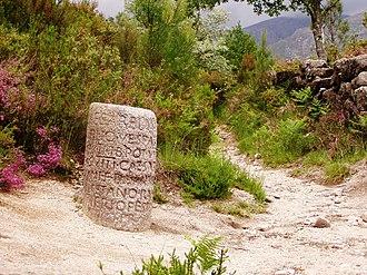 Milestone - Roman milestone XXIX on Via Romana XVIII – the road linking the Iberian cities of Bracara Augusta and Asturica Augusta