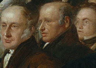 William Forster (philanthropist) - William between two fellow abolitionists (George Stacey and William Morgan) in a detail from a painting.