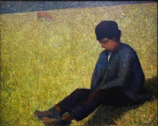 Georges Seurat Boy Sitting in a Meadow 01