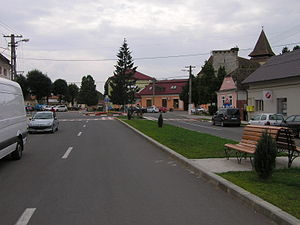Ghimbav - Center of Ghimbav. One can see the top of the local fortified church's tower on the right.
