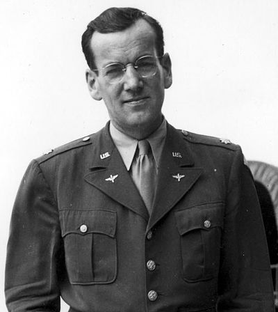 Glenn Miller, a major in the U.S. Army Air Forces during World War II, led a 50-piece military band that specialized in Swing music Glen miller.jpg