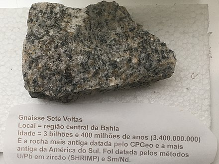 Sample of Sete Voltas gneiss from Bahia in Brazil, the oldest rock outcropping in the crust of South America, c. 3.4 billion years old (Archean) Gnaisse Sete Voltas - Bahia - Brasil.jpg