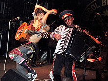 Eugene Hütz and Yuri Lemeshev performing as part of Gogol Bordello at the Aggie Theatre in Fort Collins, Colorado, 14 October 2005