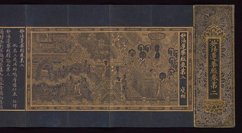 สัทธรรมปุณฑริกสูตร ฉบับอักษรฮันจา (อักษรจีนที่ใช้ในประเทศเกาหลี) สมัยราชวงศ์โครยอ เขียนขึ้นราว ค.ศ. 1340