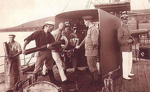 Battle for Lake Tanganyika - German gun crew manning Graf Goetzen′s 10.5 cm SK L/40 naval gun