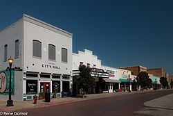 The old city hall and the National Theater in downtown Graham, Texas