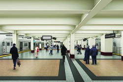 Rendering of widened platform at Grand Central
