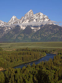 The Cathedral Group of the Teton Range in Grand Teton National Park, Wyoming.