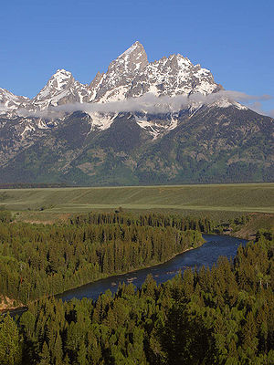 Altitudinal zonation - Altitudinal zonation of Grand Teton in the Rocky Mountains (note change in vegetation as altitude increases)