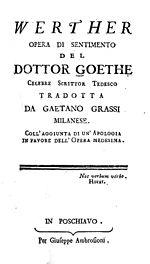 La prima edizione italiana dei Dolori del giovane Werther di Goethe, stampata a Poschiavo nel 1782