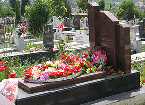 Hoxha was exhumed in 1992 and informally reburied. The picture shows his second grave.