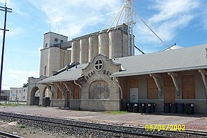 Great Bend, Kansas - Downtown Great Bend grain elevator and abandoned Santa Fe railroad station