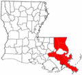 Greater New Orleans Metro Area Louisiana Region Map.png