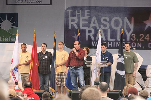 Greg Graffin of Bad Religion sings the National Anthem at the Reason Rally. National Mall, Washington, DC, 2012