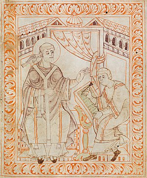 Gregorian chant -  A dove representing the Holy Spirit sitting on Pope Gregory I's shoulder symbolizes Divine Inspiration