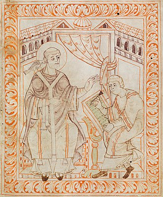 Middle Ages - An 11th-century illustration of Gregory the Great dictating to a secretary
