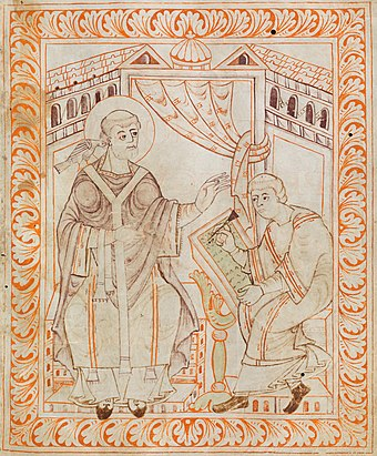 An 11th-century illustration of Gregory the Great dictating to a secretary Gregory I - Antiphonary of Hartker of Sankt Gallen.jpg