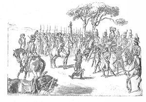 War of the Oranges - Manuel de Godoy featuring Queen María Luisa a branch with oranges.