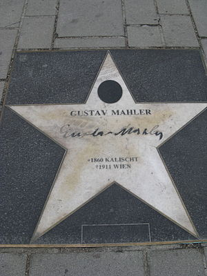 Signature of Gustav Mahler in front of Staatsoper.