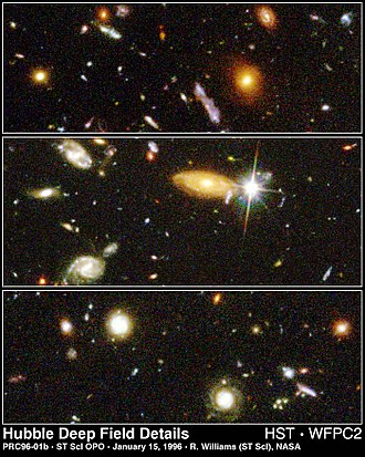 Hubble Deep Field - Details from the HDF illustrate the wide variety of galaxy shapes, sizes and colours found in the distant universe.