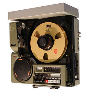 "Video tape recorder - 1976 Hitachi portable VTR, for Sony 1"" type C; the source and take-up reels are stacked for compactness. However, only one reel is shown here."