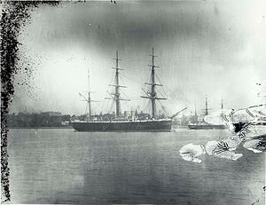 HMS Nelson moored off Farm Cove Sydney.jpg