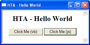 HTML Application - Image: HTA Hello World example