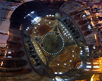 Panorama of the vaulting and interior of the dome (annotations). Hagia Sophia Interior Panorama.jpg
