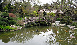 Hakone Gardens - A bridge over the koi pond