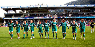 Hamarkameratene - HamKam players celebrating after the victory over Sogndal at Fosshaugane Campus 9 June 2007. From left: Markus Ringberg, Vegar Bjerke, Juha Pasoja, Espen Olsen, Truls Jevne Hagen, John Anders Rise, Roman Kienast, Thomas Øverby, Marius Gullerud, Jan Michaelsen og Svein Inge Haagenrud.