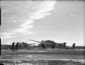 RAF Jurby - Trainee observers approach Handley Page Hampdens of No. 5 Bombing and Gunnery School at RAF Jurby.