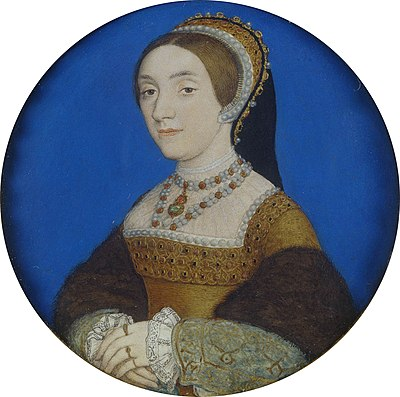 Miniature Portrait of Catherine Howard, Henry's fifth wife, by Hans Holbein the Younger, 1540 Hans Holbein the Younger - Portrait of a Lady, perhaps Katherine Howard (Royal Collection).JPG