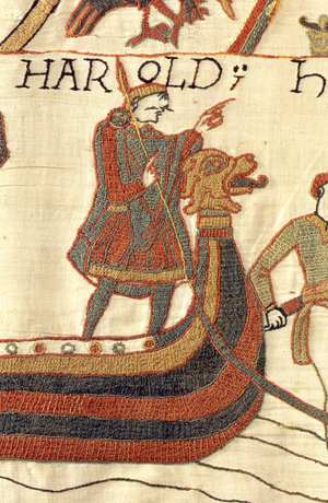 Anglo-Saxon dress - Harold Godwinson, last Anglo-Saxon king of England, as depicted in the Bayeux Tapestry. He is shown wearing a tunic, cloak, and hose.