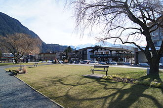 Harrison Hot Springs - A view of downtown Harrison Hot Springs facing away from Harrison Lake (2012). Mount Cheam in background